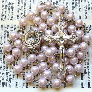 St. Therese Rosary - Saint Rosary, Little Flower, Catholic, Light Pink Glass Pearls, Large
