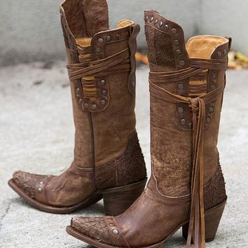 Corral Brown Fish Riding Boot