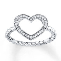 Heart Promise Ring 1/8 ct tw Diamonds Sterling Silver