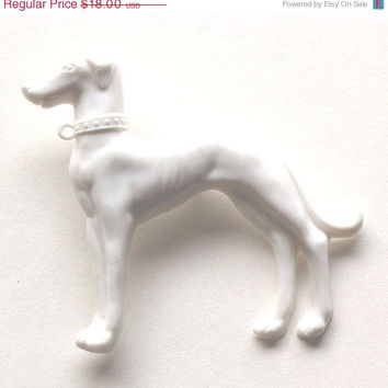 VALENTINES DAY SALE Pure white greyhound dog resin brooch pin