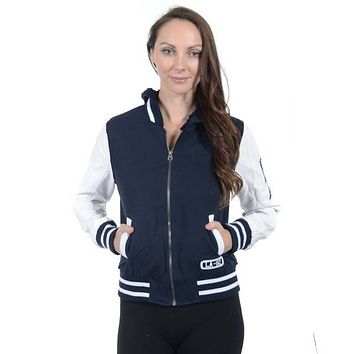 Women's Varsity Hooded Twill Jacket-Only 1 Left