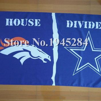 NFL Denver Broncos Dallas Cowboys House Divided Flag Banner New 3x5ft 150x90cm Polyester 05019, free shipping
