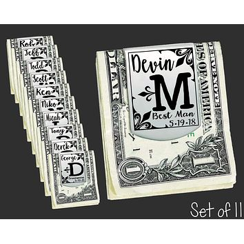 Set of 11 Personalized Money Clips | Groomsmen Gifts