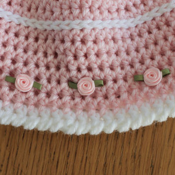 Pink and White Roses Crochet Baby Girl Hat and Mittens Set