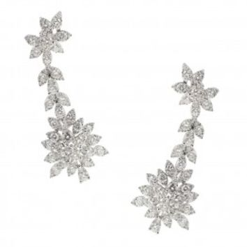 Bapalal Keshavlal Diamond Cluster Drop Earrings