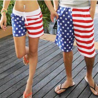 Men & Women's American Flag Beach Shorts Swimming Trunks