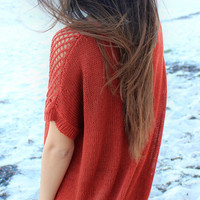 Burnt Sienna Oversized Boho Relaxed Sweater by HOBO IslandWear