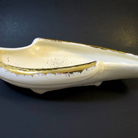 Gold Dust White Planter MCM California Pottery Fruit Bowl/Planter White w/ Gilt Spatter  1950's Curved White Gold Bowl 12.5 inches