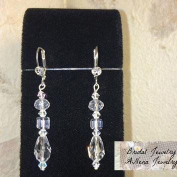 "Women's Earrings: Vintage Inspired Weddings/Bridal Earrings Crystal ""Princess  ""  By ANena Jewelry"