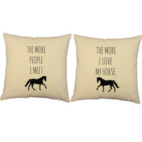 I Love My Horse Throw Pillows- Covers and or Cushions - 14x14 or 16x16 inches - horse print pillow, gift for horse lover, equestrian pillow