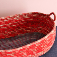Red n' Denim Basket, Oval Boat Shape Handmade Basket, Modern Basket/Bowl, Home Decor Basket