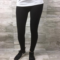 Riley's Favorite Cotton Blend Leggings in Black S-2XL