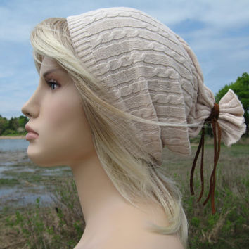 Artist Style Slouchy Beanie Hat, Ivory Cable knit Oversized  Tam Men's Ladies