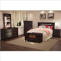 South Shore Dover Full,Queen Panel Headboard 3 Piece Bedroom Set in Dark Mahogany Finish