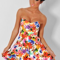 Vacation Multicoloured Floral Skater Dress | Pink Boutique