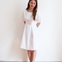 SIMPLE WHITE DRESS handmade in white cotton lace - one of a kind petite dress - wedding gown or reception dress - handmade by La petite nina