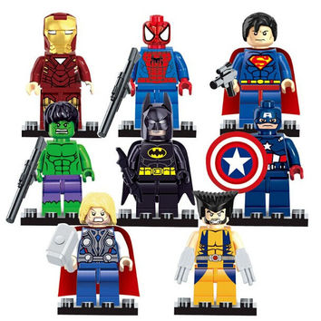8pcs Marvel Avengers Super Hero figures Building Blocks Sets Kids figures toy Bricks Superman Iron Man Hulk Batman spiderman