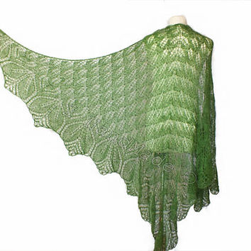 Lace Knit Triangular Green Shawl Wrap Mohair Wool Fall Boho Handmade Wedding Scarf Fashion Woman Lady Collar Casual Infinite