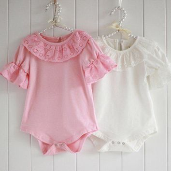Cute Newborn Baby Girls Princess Rompers Jumpsuit Lace Ruffled Bodysuit Clothes