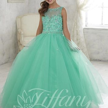 2016 Mint Green Little Girls Pageant Dresses Tulle Sheer Crew Neck Beaded Crystals Flower Girls Princess Kids Prom Dresses