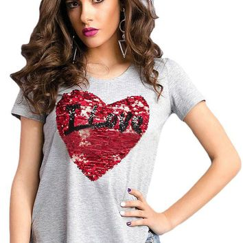 Mode Stunning Sequined Heart Grey Garter T-shirt