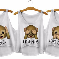 Kiwi Cute Cartoon Monkey Printed Emoji Crop Top Harajuku Kwaii Best Friends Forever Summer Funny Femme Cotton Tops