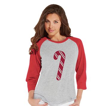 Women's Christmas Shirt - Candy Cane Shirt - Mom Christmas Present Idea - Family Christmas Pajamas - Red Raglan Tee - Christmas Gift Idea