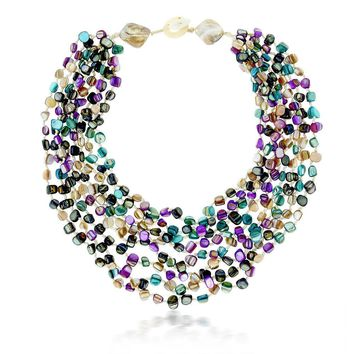 20 Inch MultiColor Simulated Shell Pearls Multi-Strand Twist Necklace