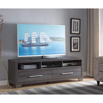 Wooden TV Stand With 2 Drawers and 3 Shelves, Gray