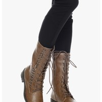 TAUPE Forever Young Studded Combat Boots   $13.50   Cheap Trendy Boots Chic Discount Fashion for Wom