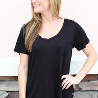 Simple Pocket Tee - Black