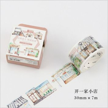 30mm Wide Building Stores Happy Life Washi Tape DIY Decoration Planner Scrapbook Sticker Label Masking Tape