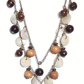 Double Strand Beaded Dangle Amber Glass, Shell & Wood Necklace