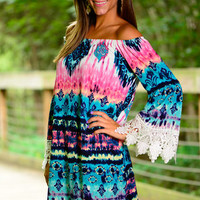 Tie Dye And Lace Dress,Pink-Teal
