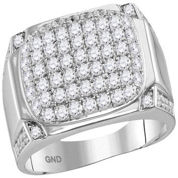 10kt White Gold Mens Round Diamond Rectangle Cluster Fashion Ring 2-1/10 Cttw