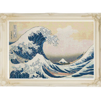 The Great Wave Katsushika Hokusai Cross Stitch Pattern