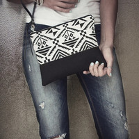 Black Clutch Bag, Wristlet, Tribal Bag, Aztec Print Bag, Handbag,  Zippered Clutch, Purse, Pochette