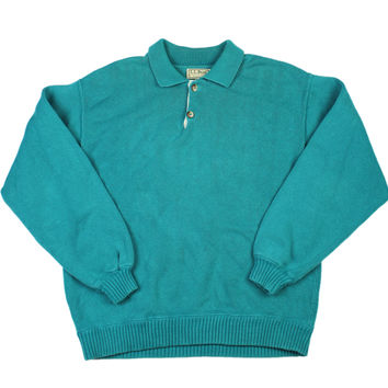 Vintage 1980s L.L.Bean 2-Button Sweater in Teal Made in USA Mens Size Medium