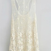 Lace Tank Top In Beige from Bblythe