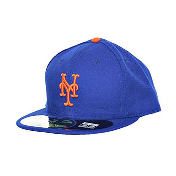 New Era New York Mets 59Fifty Fitted Hats Athletic Caps Blue/Orange 10047651 (Size 8)