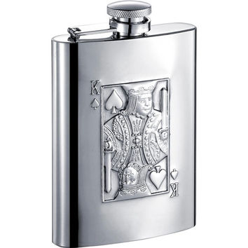 Visol King of Spades Stainless Steel 6oz Hip Flask