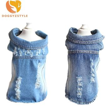 Hole Jeans Pet Dog Clothes Summer Puppy Casual Denim Vest Shirts Costumes Cowboy Jacket Winter Clothing For Small Dogs Coats 3
