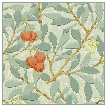 Arbutus Plant detail in Greens by William Morris Counted Cross Stitch or Counted Needlepoint Pattern