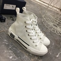 Dior Fashion Women Casual Breathable Sneakers Sport Shoes high top boots top quality white