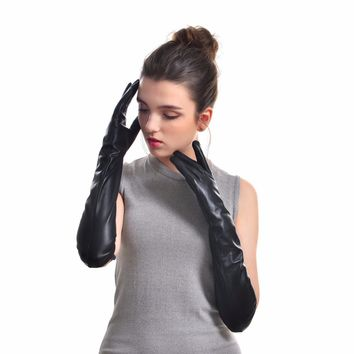 Classic Solid Black Women's Real Leather Gloves Evening Party Long Genuine Sheepskin Gloves Warm lined High-grade Gloves