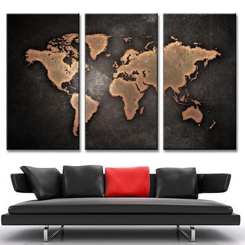 Abstract World Map 3 Piece Canvas