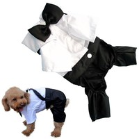 Binmer(TM)Fashion Pet Dog Clothes Cat Puppy Dog Wedding Gown Tuxedo Bow Tie Suit Clothes Jumpsuit Shirt (S)