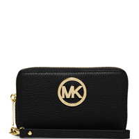 Michael Michael Kors Fulton Large Flat Multifunction Phone Wallet, Black LAVELIQ