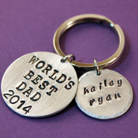 Father's Day Personalized Handstamped Key Ring -  World's Best Dad