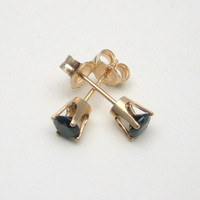 Black Spinel 14K Gold Stud Earrings - Solid 14K Gold - Gold Earrings - 3 mm 4 mm 5 mm - Post Earrings - Black Spinel Earrings